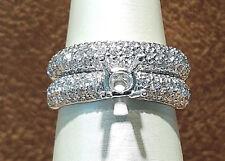 18k White Gold Diamond Semi Mount 2PC Bridal Wedding Ring Set.1.45CT.size 6,5