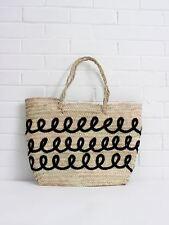 French Straw Flat Tote Basket, Black Beach Shopper Holiday Laptop Bag Storage