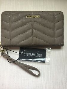 Steve Madden Wallet Smoke Quilted Gold Zip Around Wrist let MSRP $48 Ships Free