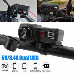 Waterproof Motorcycle Handlebar Dual USB Phone Charger Cigarette Lighter Socket