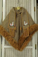 "Alpaca Poncho with Scarf  24""L Made in Peru Andean Fur-Trimmed Cape Girls Unisex"