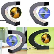 C shape Black Blue LED World Map Decor Home Electronic Magnetic Levitation
