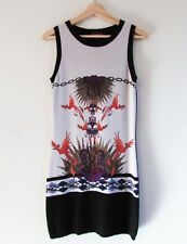Cue Size M Beige Black Stretch Knit Abstract Bird Print Sleeveless Bodycon Dress