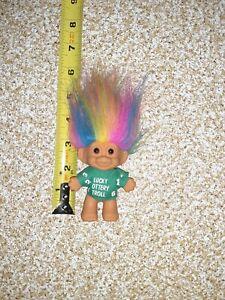 """Vintage Russ Berrie Good Luck Lucky Lottery Troll Rainbow Hair 3"""" Doll"""