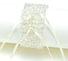 CORSAGE Bracelets Wristlet Iridescent  Ivory Pearl White Pearl Wedding Prom!