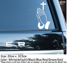 Praying Hands Cross Christian Religious Religion Jesus Car Decal Sticker Gifts