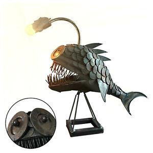 Creative Rustic USB Angler Fish Lamp Shark Lamp Handmade Unique Lamp LED Light