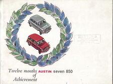 Austin Mini Seven 850 Original UK Sales Brochure Pub. No. 1992 dated 1961