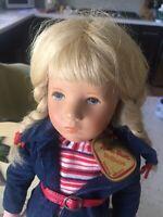 Vintage Kathe Kruse Stoffpuppe Girl Doll 15 inch-Soft Body Plastic Head Germ.Mnt