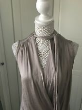 Ladies River Island Top Size 8 Lovely Neck Tie Detail