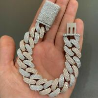"Men's 14mm x 20"" Cuban Link Round Sim Diamond Bracelet in 14k White Gold Plated"
