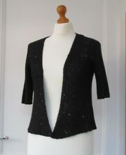 M&S BLACK SEQUIN CARDIGAN SHRUG WRAPAROUND SIZE 8 BRAND NEW
