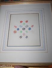 Hand made collages of English crest & seals in gold frames hand drawn borders