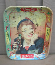 "Old Vintage Coca Cola Metal Tray ""Thirst Knows No Season"" Kitchen Tool Decor"