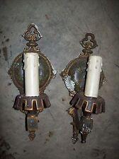 pair original paint white metal sconces    (LT 40)