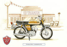YAMAHA FS1E FIZZY FS1 FS1E SS 40th ANNIVERSARY LTD EDITION WATERCOLOUR PRINT