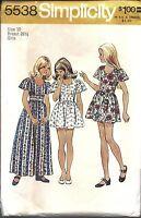 Simplicity Vintage Sewing Pattern 1970's Girls Dress in 2 Lengths 5538 10 OOP