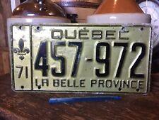 Quebec Licence License Plate 457-972