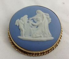 Wedgewood Blue And White Pin  Or Pendant 14K Gold (J151)