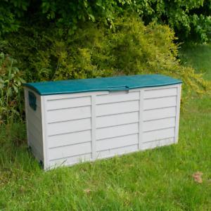 GREEN OUTDOOR GARDEN PLASTIC STORAGE BOX PORTABLE TRUNK CUSHION TOYS