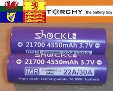 2 x 30A ShockLi 4550mAh 21700  3.7v Li-ion batteries + case 20700 / 21700
