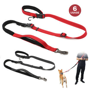 Reflective Strong Dog Hands Free Leash Bungee Seat Belt 2 Handles Control Large