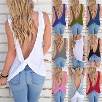 Womens Backless Sleeveless T-Shirt Vest Ladies Summer Loose Tank Tops Blouse