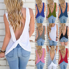 UK Womens Backless Sleeveless T-Shirt Vest Ladies Summer Loose Tank Tops Blouse