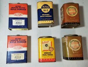 VINTAGE HERCULES, BULLSEYE, HIVEL & DUPONT SMOKELESS EMPTY GUN POWDER TIN CANS