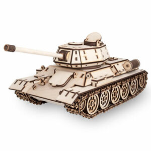 Eco Wood Art - T-34 Tank Mechanical Wooden Model Kit No Glue Required Ugears