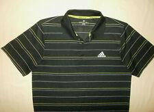 Adidas Climalite Short Sleeve Black Striped Tennis Polo Shirt Mens Medium Excell