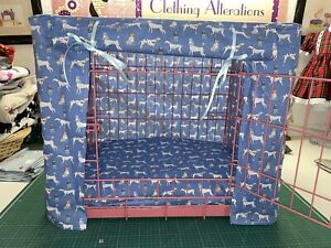 MADE TO MEASURE ALL BREEDS DOG PUPPY CRATE / CAGE COVER / BLUE OR RED