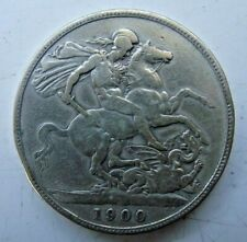 1900 QUEEN VICTORIA SILVER FULL CROWN COIN FOR GRADE SEE PICTURES