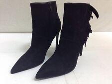 fe384e9b40fd SAINT LAURENT Paris Fringe Detail Black Suede Pointed Ankle Booties 41 11