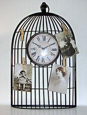 BIRD Cage Stile Orologio in metallo piastra a parete con picchetti di legno per foto o MEMO'S