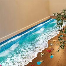 3D Ocean Beach Waterproof Self Adhesive Wall Stickers Bathroom Wall Decals  DIY