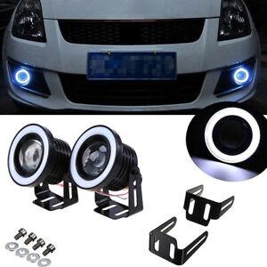 "2x 3.5"" LED COB Projector Fog Driving Lamp Angel Eye Halo Ring DRL Daytime Light"