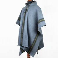 LLAMA WOOL MENS UNISEX SOUTH AMERICAN PONCHO CAPE COAT JACKET CLOAK HANDWOVEN