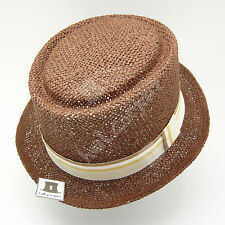 FASHION Straw Pork Pie Top Hat Women Soft Stingy Summer Party NEW | 57cm | Brown