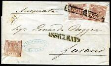ITALIEN ALT NEAPEL 1858 2+5+4 auf Brief ASSICURATA (Z7605
