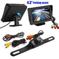 "170° Car Backup Rear View Camera Reverse Parking Assist Kit + 4.3"" LCD Monitor"