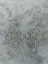 Moroccan Metal Hanging Earrings in Silver