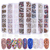 12 Grid 3D Nail Art Rhinestones Crystal AB Mix Glitter Diamonds Tips Decor