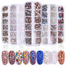 12 Grid 3D Nail Art Rhinestones Crystal AB Mix Glitter Diamonds Tips Decor