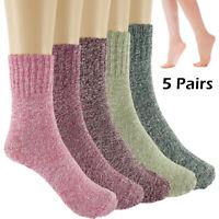 5 Pairs Women Wool Cashmere Lady Thick Winter Socks Warm Soft Casual Sock FastUS