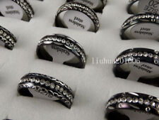 Wholesale 12 pcs Mixed style black Inner arc Zircon Stainless Steel Ring