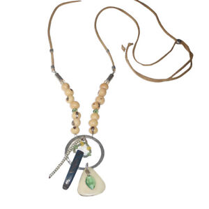 Silpada N3306 Sterling Silver Nut Tropical Palms Suede Necklace Green Adjustable