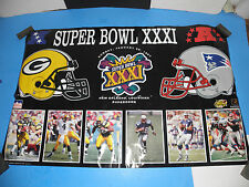 NFL SUPER BOWL XXXI 31 PACKERS-PATRIOTS LOGO AND PLAYER POSTER 22X34