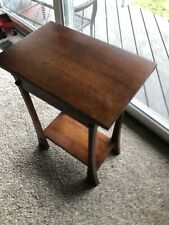 Contemporary Quarter Sawn Oak Stained End Table Solid Flared Legs