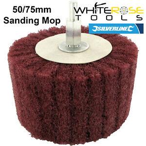 Silverline Cylinder Sanding Mop 50mm Or 75mm Cleaning Wood Metal 240 Grit